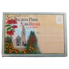 1920s BALBOA PARK San Diego Postcard Folder - Souvenir of California