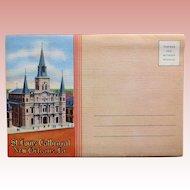 1940s ST LOUIS CATHEDRAL New Orleans Linen  Postcard Folder - Souvenir of Louisiana