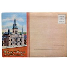 1940s ST LOUIS CATHEDRAL New Orleans Linen  Postcard Folder - Souvenir of Louisiana