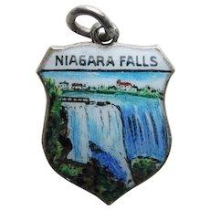 Sterling & Enamel NIAGARA FALLS Vintage Charm - Travel Souvenir Shield