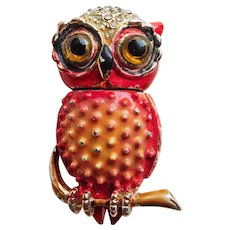 Awesome CORO Figural Owl with Mechanical Head Vintage Enameled Brooch - Swivel Movable Turning Head