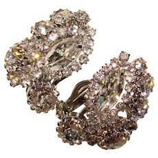 Fabulous WEISS Signed Vintage Rhinestone Clip Earrings