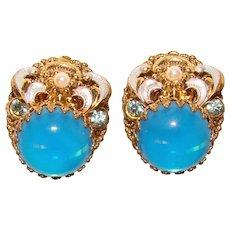 Fabulous W. GERMANY Blue Glow Stones Vintage Clip Earrings