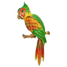 Awesome PARROT Bird Signed JJ Enameled Vintage Brooch- Jonette Jewelry Company