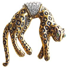 Fabulous FLORENZA Leopard Vintage Brooch - with Mechanical Tail