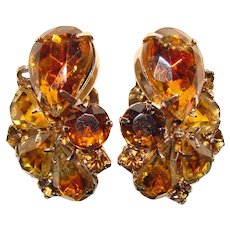 Gorgeous AMBER & TOPAZ Colored Rhinestone Vintage Clip Earrings