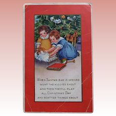 Antique GIRLS & DOLL Christmas Postcard - With Christmas Tree