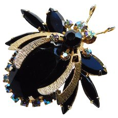 Fabulous JULIANA Vintage Figural BUG Insect Brooch - Black Glass & Aurora Rhinestone