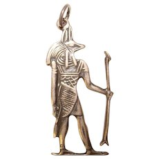 Awesome STERLING Egyptian Anubis Vintage Pendant Charm