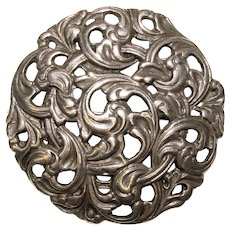 Fabulous 830S Signed Silver Norwegian Ornate Vintage Brooch