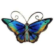 Fabulous DAVID ANDERSEN Sterling & Enamel Butterfly Vintage Brooch - Norway Norwegian Signed