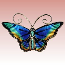Fabulous DAVID ANDERSEN Sterling & Enamel Butterfly Vintage Brooch - Norway Norwegian Signed
