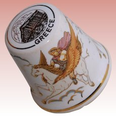 Vintage GREEK GOD & PEGASUS Porcelain Estate Thimble - Souvenir of Greece