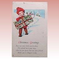 Art Deco Boy or Girl with Christmas Present Postcard - 1923