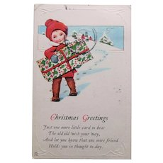 Art Deco Boy or Girl with Christmas Present Postcard - 1923