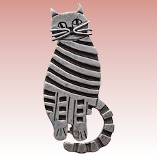 Awesome MEXICAN STERLING Striped Cat Vintage Brooch