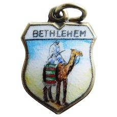 Vintage BETHLEHEM 800 Silver & Enamel Estate Charm - Souvenir of Israel