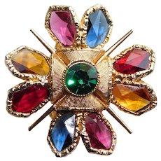 Fabulous CAPRI Rhinestone & Geometric Glass Stone Vintage Brooch - Open Backed Edge Set Jewels
