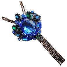 Fabulous BLUE & GREEN Rhinestone Vintage Dangle Necklace
