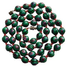 Gorgeous ITALIAN MILLEFIORI GLASS Beads Vintage Necklace - Green Red Blue