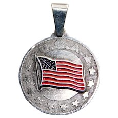 Sterling US FLAG Vintage Enamel Pendant - Souvenir of the United States or America