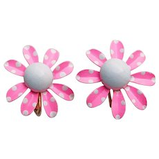 Awesome 1960s Flower Power HOT PINK Polka Dot Enamel Vintage Earrings
