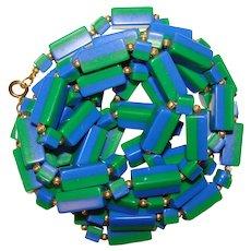 Fabulous BLUE & GREEN Lucite Plastic Elongated Beads Long Vintage Necklace