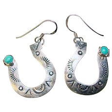 Fabulous STERLING & TURQUOISE Lucky Horseshoe Design Earrings