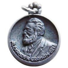 Sterling Alexander Graham Bell Signed Vintage Estate Charm - Phone Telephone
