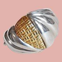 Fabulous Italian Sterling & 18K Overlay Heavy Hinged Vintage Bracelet - 98 Grams