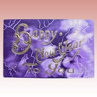 Antique HAPPY NEW YEAR Postcard - Purple & Gold Colors