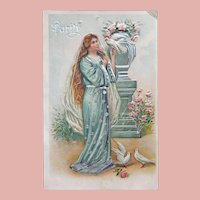 Antique PURITY Lady & Doves Birds Postcard
