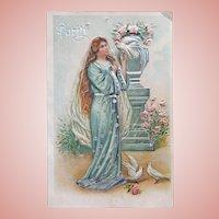 Antique PURITY Lady & Doves Birds Postcard