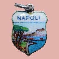 800 Silver & Enamel NAPLES Napoli Estate Charm - Souvenir of Italy