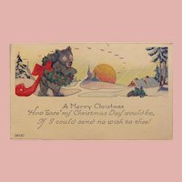 Antique BEAR & WREATH Holly and Berry Christmas Postcard