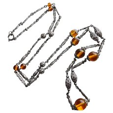 Gorgeous ART DECO Amber Glass Beads Necklace