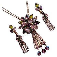 Fabulous PURPLE GREEN & Lavender Rhinestone Vintage Necklace Set