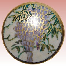 Gorgeous SATSUMA Antique Hand Painted Wisteria Floral Button - 13/16""