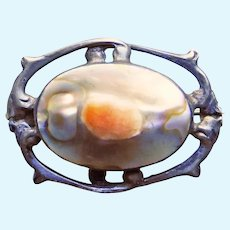 """Tiny Antique Sterling & Blister Shell Pin Brooch -  - 7/8"""" by 5/8"""" - For Your Doll"""