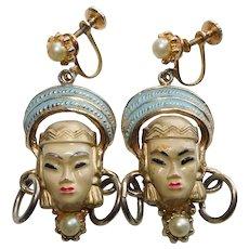 Awesome SELRO Asian Princess Lady Face Vintage Earrings - Screw Backs