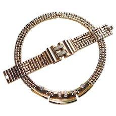 Fabulous TRIFARI Baguette Rhinestone Vintage Necklace & Bracelet Set