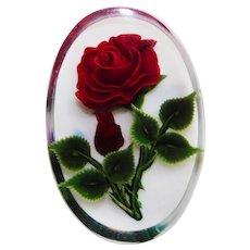 Carved Lucite Red Rose Vintage Estate Pin Brooch