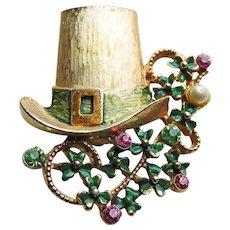 Awesome LEPRECHAUN HAT & Shamrock Lucky Clover Vintage Brooch