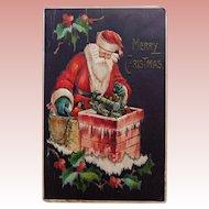 Antique Santa Delivering Doll & Train Postcard - Circa 1914