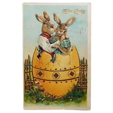 Antique DRESSED RABBITS in Love Easter Postcard - Circa 1909