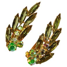 Fabulous D&E JULIANA Vintage Green & Aurora Clip Earrings