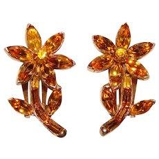 Fabulous PELL Signed Amber Rhinestone Figural Flower Design Vintage Clip Earrings