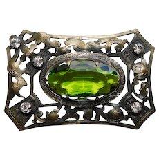 Fabulous Antique Victorian Green Glass Sash Pin Brooch - Figural Crown and Fleur de Lis Designs
