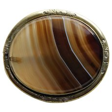 Fabulous VICTORIAN Banded Agate Large Huge Antique Brooch