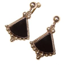 Gorgeous MEXICAN STERLING Black Stone Vintage Dangle Earrings